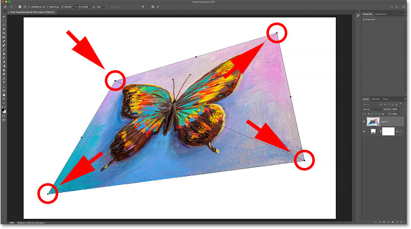 How to distort an image with Photoshop's Free Transform command