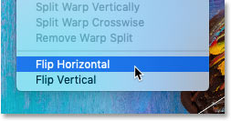 Choosing the Flip Horizontal command in Photoshop