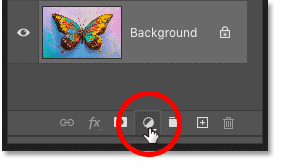 Clicking the New Fill or Adjustment Layer icon in Photoshop's Layers panel