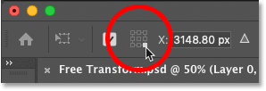How to use the Reference Point Grid to move the Free Transform target icon in Photoshop