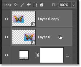Selecting both smart objects in the Layers panel