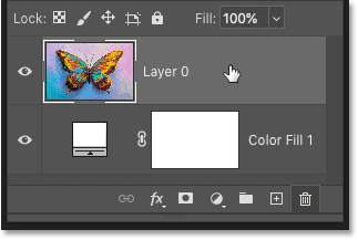 Selecting the image layer in Photoshop's Layers panel