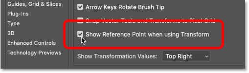 How to turn the transform Reference Point on permanently in Photoshop CC