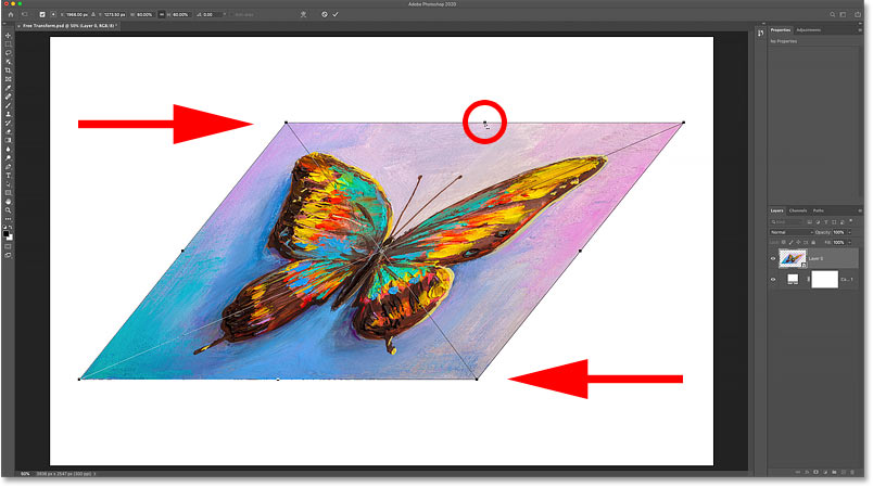 How to scale opposite sides at the same time with Photoshop's Free Transform command