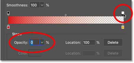 How to add transparency to a gradient in Photoshop's Gradient Editor
