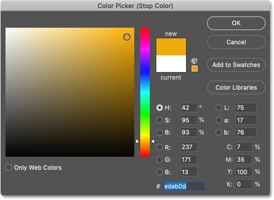 Choosing another new gradient color in Photoshop's Color Picker