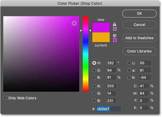 Choosing a third color for the gradient in Photoshop's Color Picker