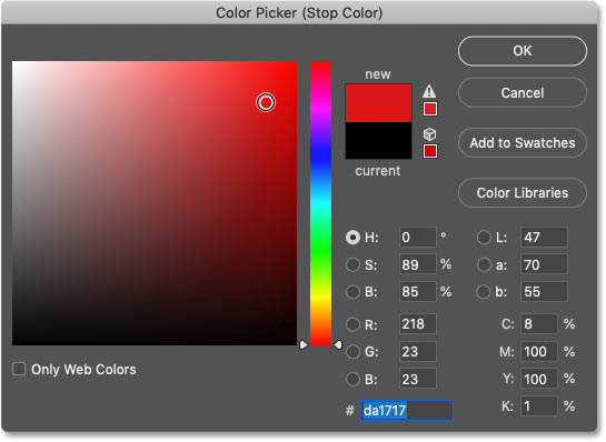 Choosing a new gradient color in Photoshop's Color Picker