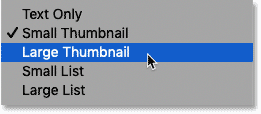 How to change the size of the thumbnails in the Gradients panel in Photoshop CC 2020