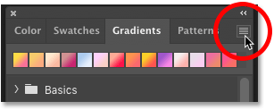 How to open the Gradients panel menu in Photoshop CC 2020