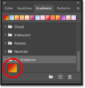 Photoshop's Gradients panel showing the new gradient