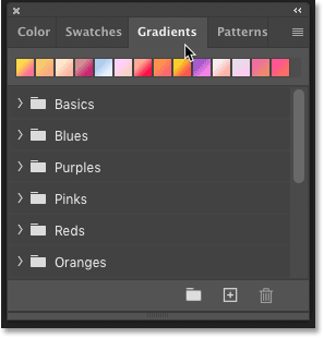 The new Gradients panel in Photoshop CC 2020.
