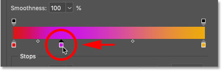 How to move a color to a new location in the gradient in Photoshop's Gradient Editor