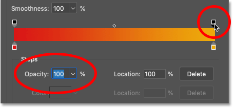 Resetting the gradient opacity to 100 percent in Photoshop's Gradient Editor