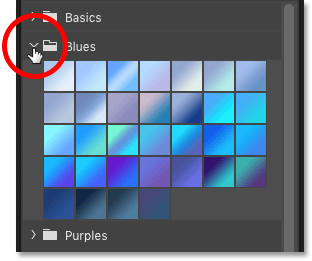How to open and close a gradient set in Photoshop CC 2020