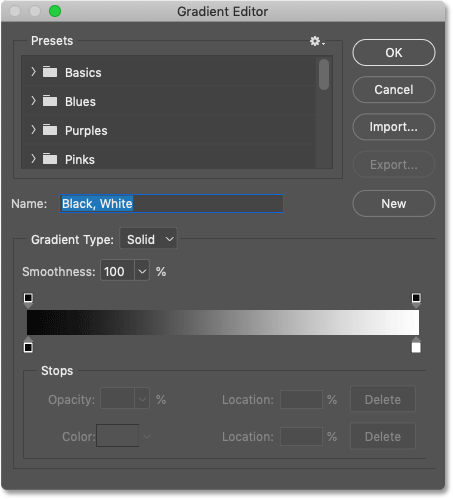 The Gradient Editor in Photoshop CC 2020