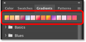 Photoshop's Gradients panel showing the recently used gradients