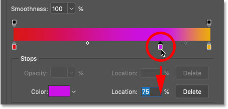 How to remove a color from a gradient in Photoshop's Gradient Editor