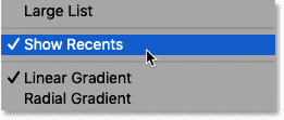 How to turn recent gradients on and off in the Gradients panel in Photoshop