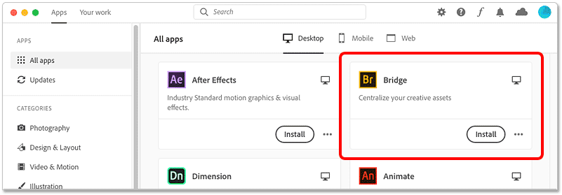 Locating Bridge in the Creative Cloud desktop app
