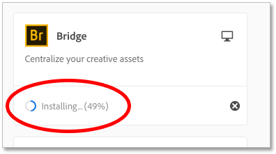 The progress indicator for the Adobe Bridge installation