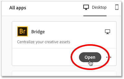 How to open Adobe Bridge from within the Creative Cloud app