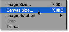 Selecting the Canvas Size command in Photoshop