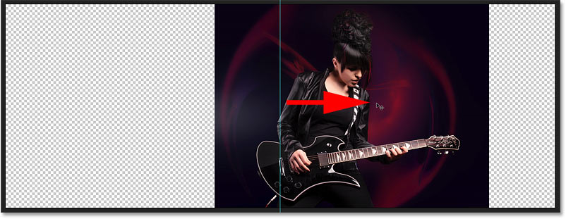 Dragging everything in the image that will be mirrored to one side of the guide in the Photoshop document