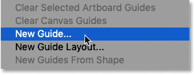Selecting the New Guide command in Photoshop