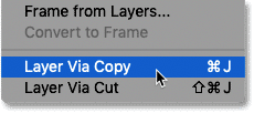 Selecting the New Layer via Copy command in Photoshop