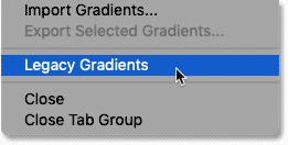 Loading the missing gradients into Photoshop CC 2020