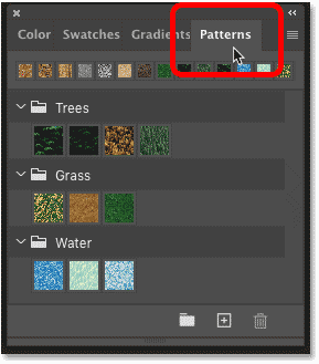 Opening the Patterns panel in Photoshop CC 2020