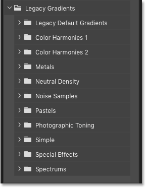The missing gradients have been loaded into Photoshop CC 2020