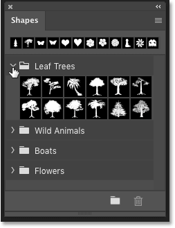 The Shapes panel in Photoshop CC 2020 showing the default shapes