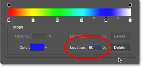 Setting the location of blue in the rainbow gradient to 80 percent