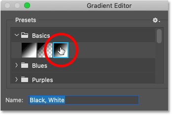 Choosing the 'Black, White'gradient in Photoshop's Gradient Editor