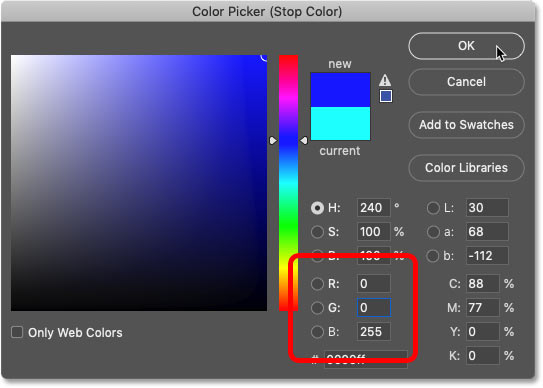 Choosing blue in Photoshop's Color Picker