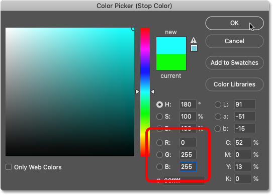 Choosing cyan for the rainbow gradient in Photoshop's Color Picker