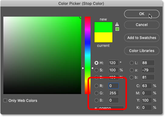 Changing the new color in the rainbow gradient to green in Photoshop's Color Picker