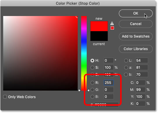 Changing the black color in the gradient to red in Photoshop's Color Picker