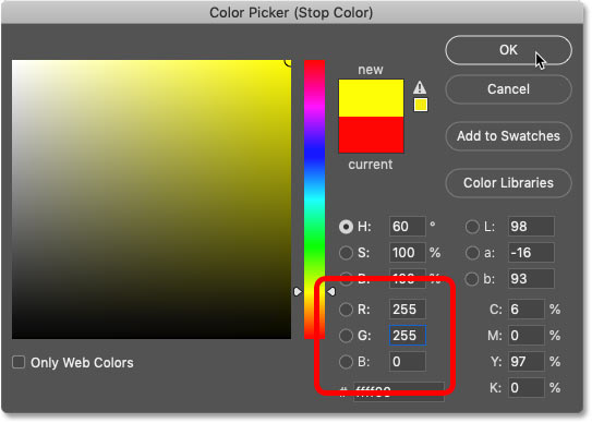 Changing the new color in the rainbow gradient to yellow in Photoshop's Color Picker
