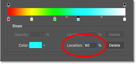 Setting the location of cyan in the rainbow gradient to 60 percent