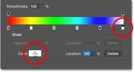 Selecting the white color stop in the gradient and clicking the color swatch