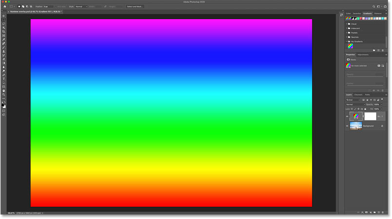 The result after dragging and dropping the rainbow gradient onto the image in Photoshop