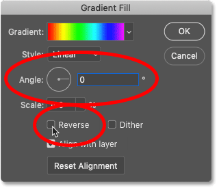 Changing the direction of the rainbow gradient in Photoshop's Gradient Fill dialog box