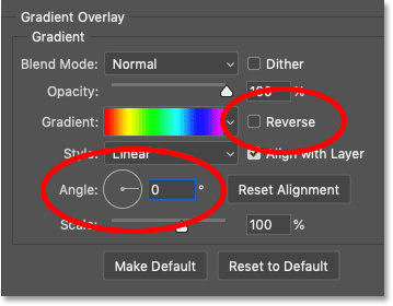 Changing the angle of the rainbow gradient Photoshop's Layer Style dialog box