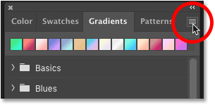 Opening the Gradients panel menu in Photoshop..