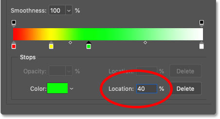 Setting the location of green in the rainbow gradient to 40 percent