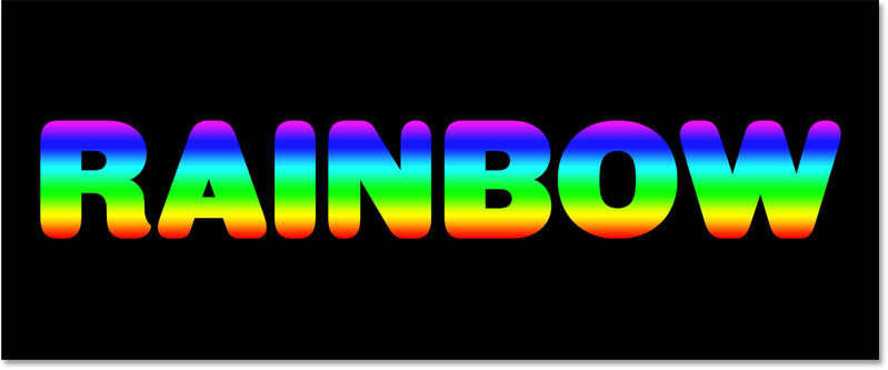 The result after dropping the rainbow gradient onto the text in Photoshop
