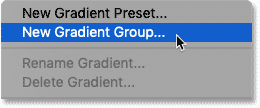 Choosing the New Gradient Group command in Photoshop